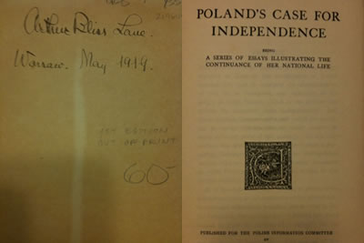 A book about Poland which Arthur Bliss Lane had with him while serving at the U.S. diplomatic mission in Warsaw in 1919. The book is now in my library.