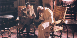 Ronald Reagan with Pope John Paul II in Miami, 1987