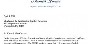 Annette Lantos Letter to BBG on Saving VOA