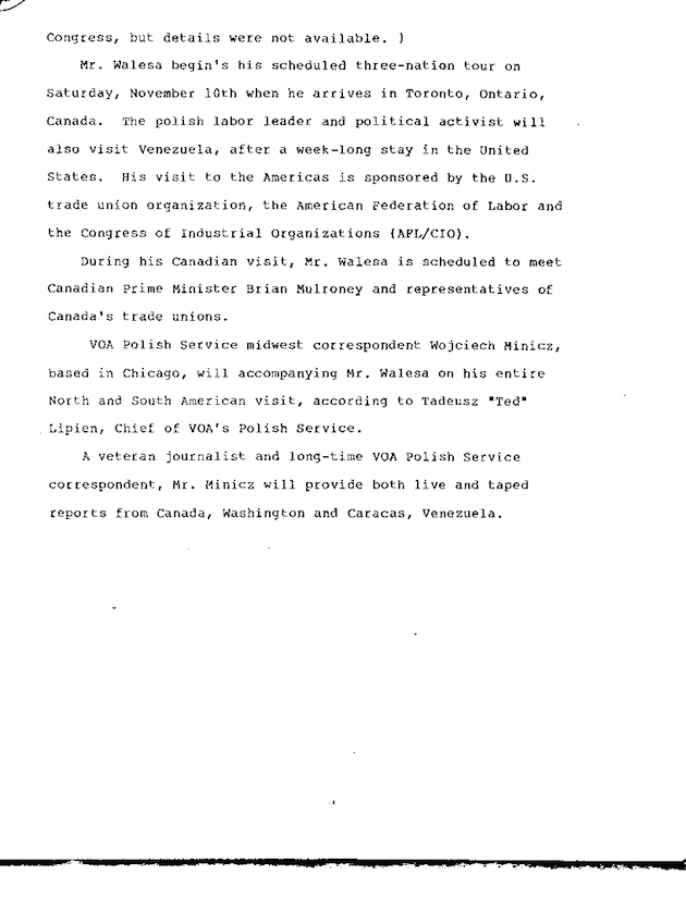 VOA Plans Coverage of Walesa 1989 US Visit p. 2