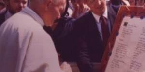 Ken Tomlinson and Ted Lipien with Pope John Paul II