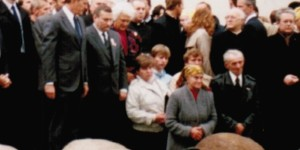 Vice President George H. W. Bush and Lech Wales Looking at Father Popieluszko's Parents, Warsaw, Sept. 28, 1987