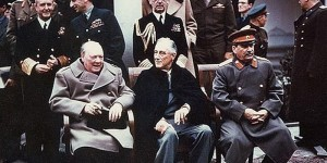 Yalta summit in February 1945 at which Stalin's territorial claims against Poland were confirmed by Roosevelt and Churchill. (From left to right) Winston Churchill, Franklin Roosevelt and Joseph Stalin. Also present are USSR Foreign Minister Vyacheslav Molotov (far right); Field Marshal Alan Brooke, Admiral of the Fleet Sir Andrew Cunningham, RN, Marshal of the RAF Sir Charles Portal, (standing behind Churchill); George Marshall, Army Chief of Staff and Fleet Admiral William D. Leahy, USN, (standing behind Roosevelt).