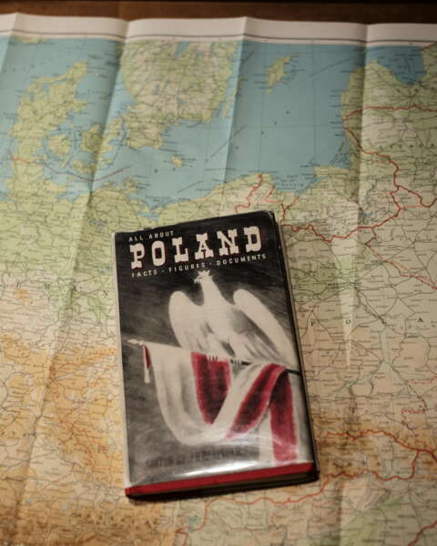 All About Poland - Facts - Figures - Documents Edited by J. H. Retinger Litt.D. with Map of Poland, Mineva Publishing Co Ltd, London. 1941. Cover and map showing division of Poland by Hitler's Nazi Germany and Stalin Soviet Russia after their attack on the country in September 1939.